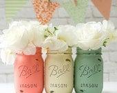 Mint Green, Coral & Cream Painted Mason Jars - Vases, Centerpieces, Decor