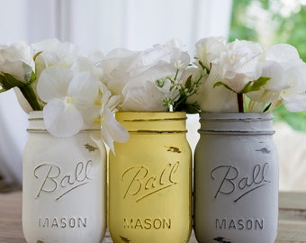Yellow, Gray, White Painted and Distressed Mason Jar Set - Wedding Centerpiece, Vases, Home Decor