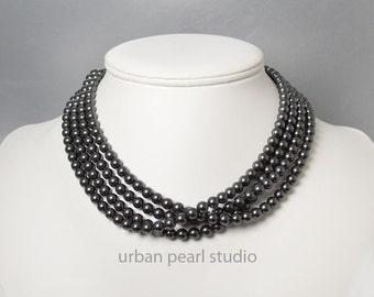 Black Pearl Necklace Multi Strand Pearl Black Choker Swarovski Pearl Adjustable Length Multistrand Necklace