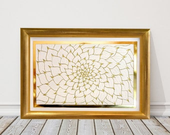 Gold Zen Flower, Zen Wall Art, Zen Decor, Minimalist Art, Lotus Flower Wall Art, Meditation Art