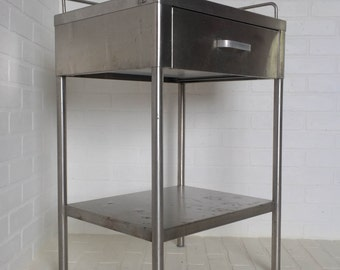 Vintage Stainless Steel Industrial Medical Table Metal Side Table Simplex Co