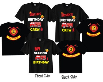 Mom of the Birthday Boy Dad of the Birthday Boy and 2nd Birthday Shirt Firetruck Birthday Shirts on BLACK Shirts