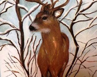 Winter Buck Aspen trees seasonal  watercolor print  card (item C61)