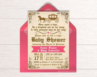 Fairytale Baby Shower Invitation - Printable Invite - Once Upon a Time - Royal Princess Baby Shower - Baby Shower Party Package - BS12
