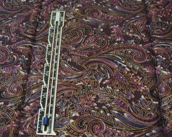 "Fat Quarter Quilting Cotton Purple/Blue/Gold Paisley Print - 18"" x 22"""