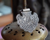Silver pendant Indian lotus bud floral fan large gypsy necklace amulet piece with stamp work of flowers 925