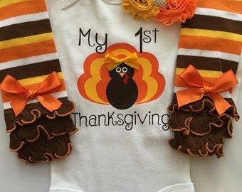 BABY girl Thanksgiving outfit- Baby Girl Fall Outfit  - thanksgiving legwarmers- 1st thanksgiving outfit - personalized baby