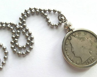 1912 Liberty Nickel Necklace with Stainless Steel Ball Chain