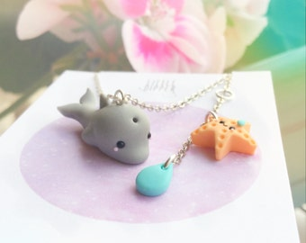 Cute Baby Dolphin and Starfish Necklace