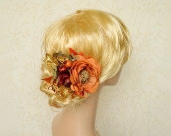 Fall hair piece, Bridal headpiece, Rustic wedding flower, Autumn hair flower, Gold orange hair flower, Pinecone hair clip, Autumn hair clip