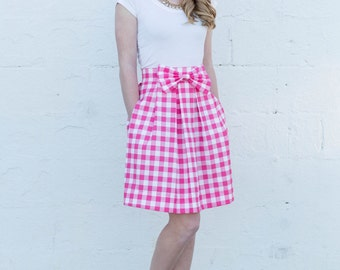 Pink Gingham Bow Structured Womens Skirt with Pockets