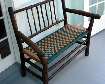 Old Hickory Bench, Settee, Restored with Shaker tape seat, Porch, Rustic, stick, Adirondack