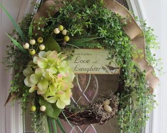Spring/Summer Wreath, Greenery Wreath, Birdnest Wreath, Year Round Wreath, Hyrangea  Wreath, Welcome  Wreath, Green Wreath