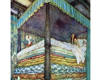 Princess and the Pea Fabric Block - Fairy Tale Hans Andersen - Edmund Dulac Repro