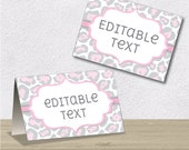 Instant Download - Editable PDF Printable - Leopard Label / Sticker / Tent Card - Pink and Grey / Gray