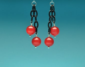Pomegranate Vintage Lucite Moonglow Lightweight Dangle Earrings