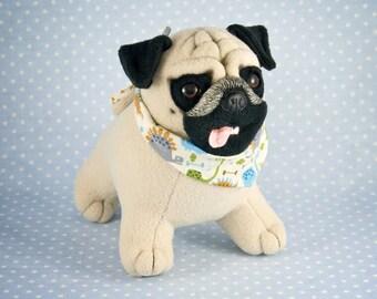 OOAK Fawn Pug in a Dino Bandana, handmade soft art toy