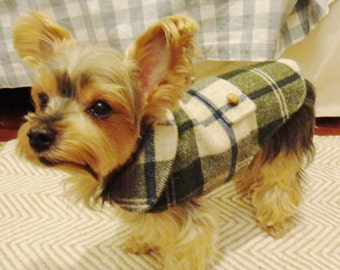 Small dog wool coat Plaid coat Warm pet coat green tartan check dog clothes with cotton lining bone, buttons and contrast collar (size  SS)