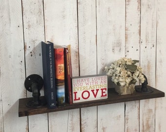 Wood Book Shelf, Rustic Industrial Decor, Rustic Industrial shelf, rustic wood shelves, pipe wood shelf, custom wood furniture
