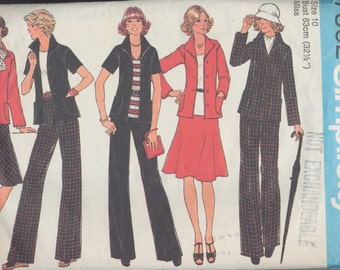 Vintage 1976 sewing pattern - Ladies suit: jacket, pants and bias skirt