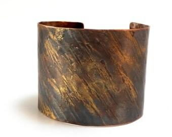Gold & Copper Bracelet Cuff - Rustic Vintage Armor Relic Tribal Folk Earthy Renaissance Warrior Victorian - Textured Darkened Patina