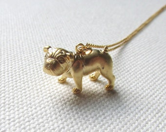 French Bulldog Necklace Gold 3D Dog Pendant Cute Animal Jewelry Modern Simple Frenchie