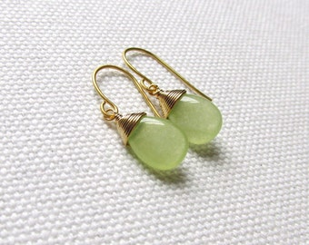 Lime Green Wire Wrapped Earrings Jade Gemstone Earrings Green Earrings Dainty Minimal Bridal Simple Modern Wire Wrapped Jewelry