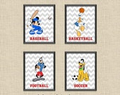 Set of 4 Mickey & Friends Sports Chevron Printable Wall Art 8x10