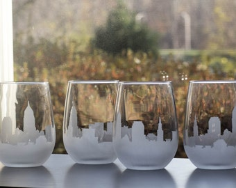 Etched Cleveland Ohio Skyline Silhouette Wine Glasses or Stemless Wine Glasses