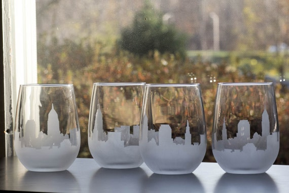 Etched Cleveland Ohio Skyline Silhouette Wine Glasses or Stemless Wine Glasses (set of 1 or 2)