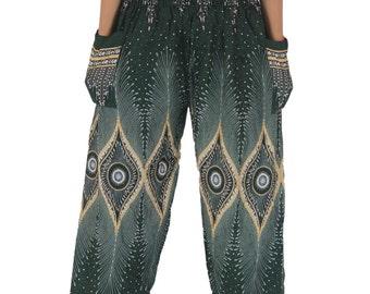 Unisex Black peacock Boho pants /Hippies pants Gypsy pants Bohemian women clothes Yoga Pants one size fits DarkGreen