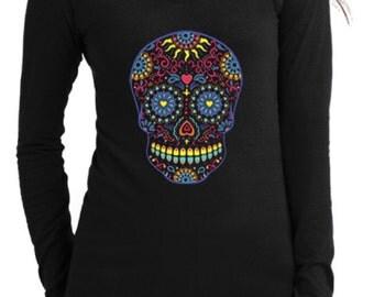 Fashion Vixen Clothing Long Sleeve V-Neck Sugar Skull Shirt S M L XL Plus Size 1x 2x 3x 4x 5x