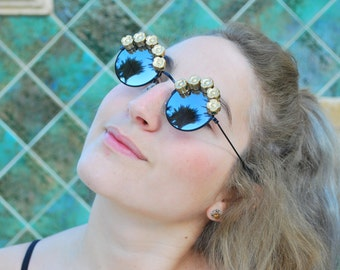 Gold floral DIY festival quirky sunglasses