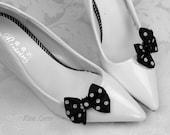 Polka Dot Bow Shoe Clips, Black & White Bow Shoe Clip, Black and White Spotted Bow Clip Shoes