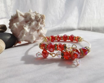 Adjustable Memory Wire Bangle, Cuff, Beaded Bracelet with Swarovski Crystals and Glass Beads for Christmas, Valentine's Day, Mother's Day