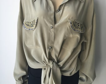 """Sage silk blouse Western embellished embroidered beads sequins long sleeved metal buttons  loose fit plus size chest 45"""""""