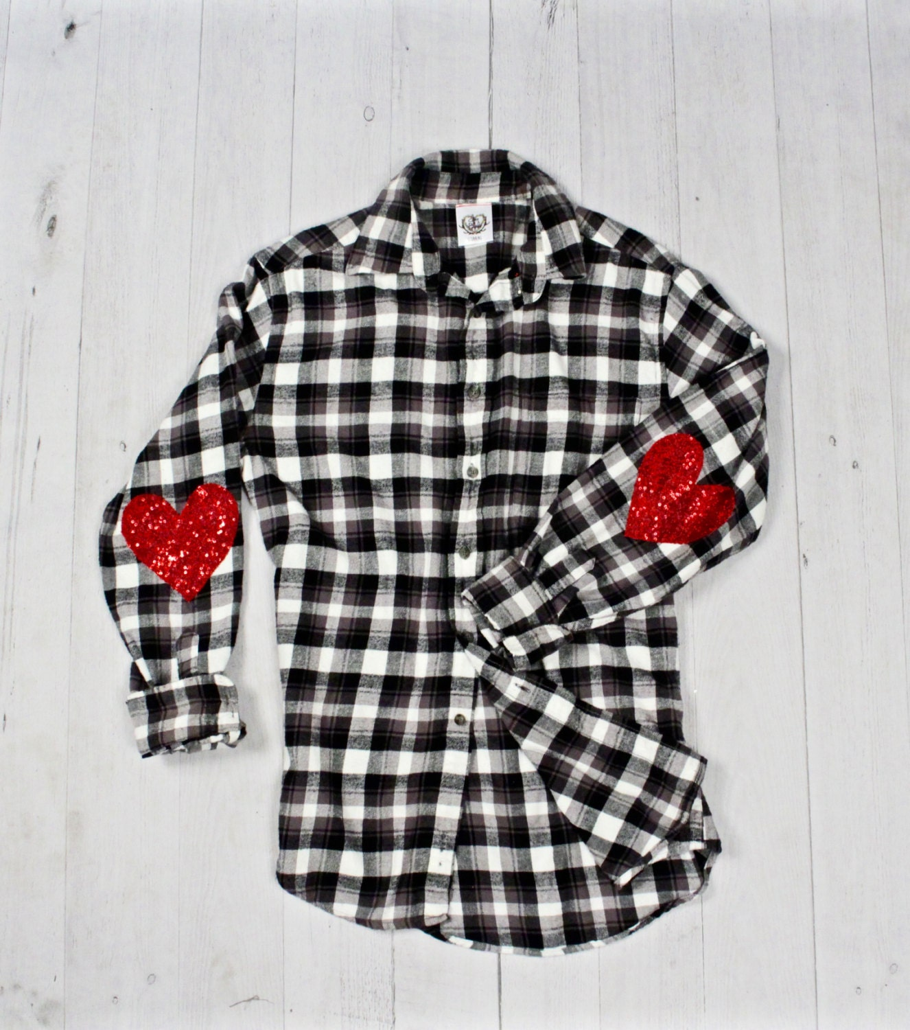 Sequin flannel shirt sequin heart elbow patch buffalo plaid for Mens flannel shirt with elbow patches
