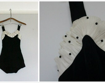Vintage 1950's Ruffle Swimsuit | Catalina Of California | Size Small