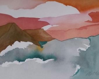 "SALE.  Na Pali Coast Series.  ""Sea, Shore, and Sunset"" original one of a kind watercolor"