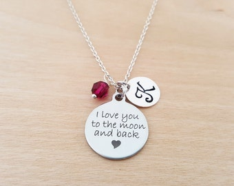 I Love You To The Moon And Back Necklace - Birthstone Necklace - Personalized Initial Necklace - Sterling Silver Necklace - Gift for Her