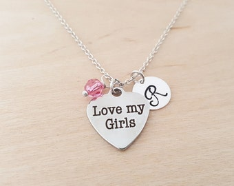 Love My Girls - Mom Necklace -  Swarovski Birthstone - Personalized Gift - Initial Necklace - Sterling Silver Jewelry - Gift For Her