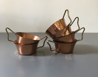 vintage copper and brass tea cups rustic set of 6