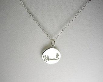 Sterling Silver Love Birds On A Branch Pendant Necklace, Silver Necklace, Layering Necklace, Anniversary Gift, Birthday Gift, Wedding Gift