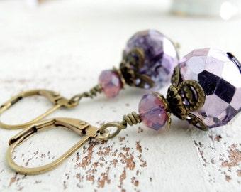 Lilacs in Bloom Earrings Purple Glass Dangle Earrings Lavender Earrings Antiqued Brass Earrings Lilac Wedding Jewelry Pastel Purple Earrings