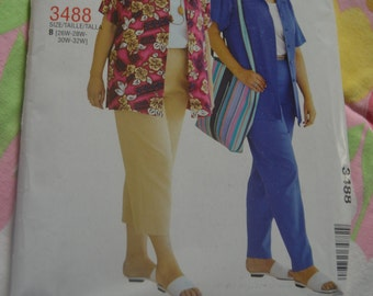 Stitch N Save 3488 Womens Petite Shirt Top and Pull on Pants in Two Lengths Sewing Pattern - UNCUT - Size 26W 28W 30W 32W
