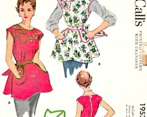 Vintage 50's Cobbler Aprons Potholders Sewing Pattern Size Medium 14 -16 Embroidery Transfers Button Back Closures McCalls 1953 Not Complete