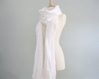 White Linen Shawl, White Linen Scarf, Beachy Linen Scarf, Simple Linen Shawl, Natural Linen Scarf, Rustic Linen Fringed Scarf, Scarf Linen
