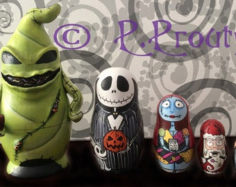 FIVE PIECE ONLY*** Custom made to order order Fan Art nesting dolls with Sculpted Oogie Boogie.