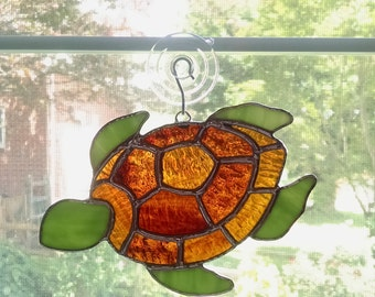 Stained Glass Turtle Suncatcher - Turtle Ornament - Beach Decor - Coastal Decor - Sea Creature - Turtle Art - Sea Turtle - Underwater Life