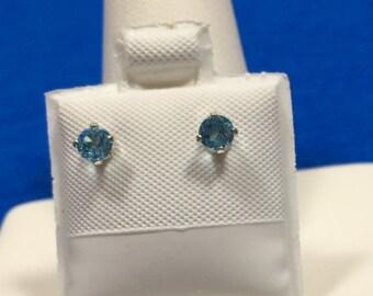 Swiss Blue Topaz Sterling Silver Earring Studs 3 mm Round